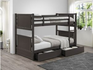 Myer Grey King Single Bunk Bed with Storage | Hardwood Frame