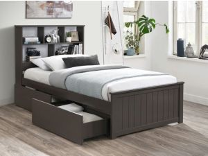 Myer Grey Single Bed with Storage | Hardwood Frame
