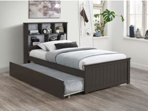 Myer Grey Single Bed with Trundle | Hardwood Frame