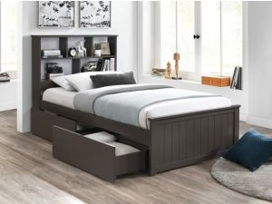 Myer Grey King Single Bed with Storage | Hardwood Frame