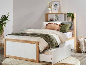 Myer King Single Bed with Storage | Natural Hardwood Frame