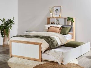 Myer King Single Bed with Trundle | Natural Hardwood Frame