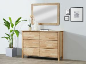 Myer Dressing Table with Mirror   Natural Hardwood