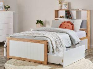 Myer Single Bed with Storage | Natural Hardwood Frame
