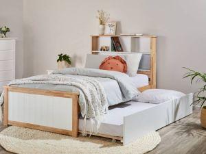 Myer Single Bed with Trundle | Natural Hardwood Frame
