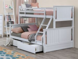 Myer White Triple Bunk Bed with Storage | Hardwood Frame