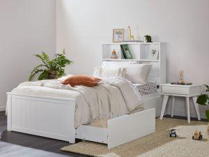 Myer 4PCE White Single Bedroom Suite | Storage