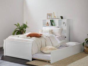 Myer White Single Bed with Trundle | Hardwood Frame