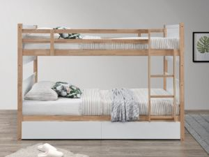 Myer Single Bunk Bed with Storage | Hardwood Frame