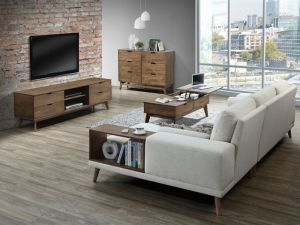Paris 5PCE Hardwood Living Room Furniture Package | Rustic Walnut | Beige