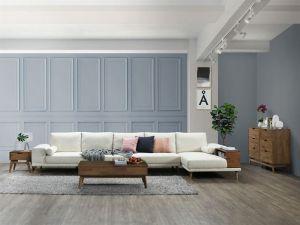 Paris 6PCE Hardwood Living Room Furniture Package | Rustic Walnut | Beige