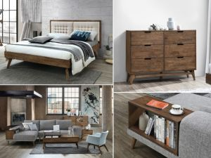 Paris 9PCE Home Living & Bedroom Furniture Package | Rustic Hardwood