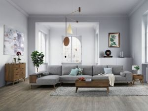Paris Modular Sofa Series | L-Shape Extension Sofa with Left Chaise | Grey Fabric