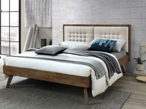 Paris Hardwood Queen Size Bed Frame | Walnut