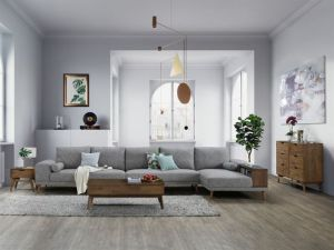 Paris Modular Sofa Series | L-Shape Extension Sofa with Chaise | Grey Fabric