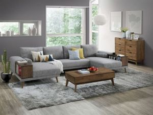 Paris Modular Sofa Series | U-Shape Sofa with Chaise | Grey Fabric