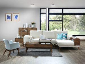 Paris Modular Sofa Series | L-Shape Sofa with Right Chaise | Beige Fabric