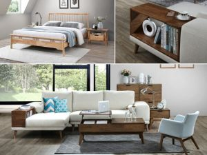 Rome 8PCE Home Living & Bedroom Furniture Package | Hardwood