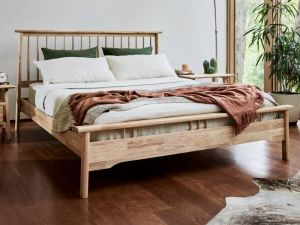 Rome Queen Size Bed Frame   Natural Hardwood